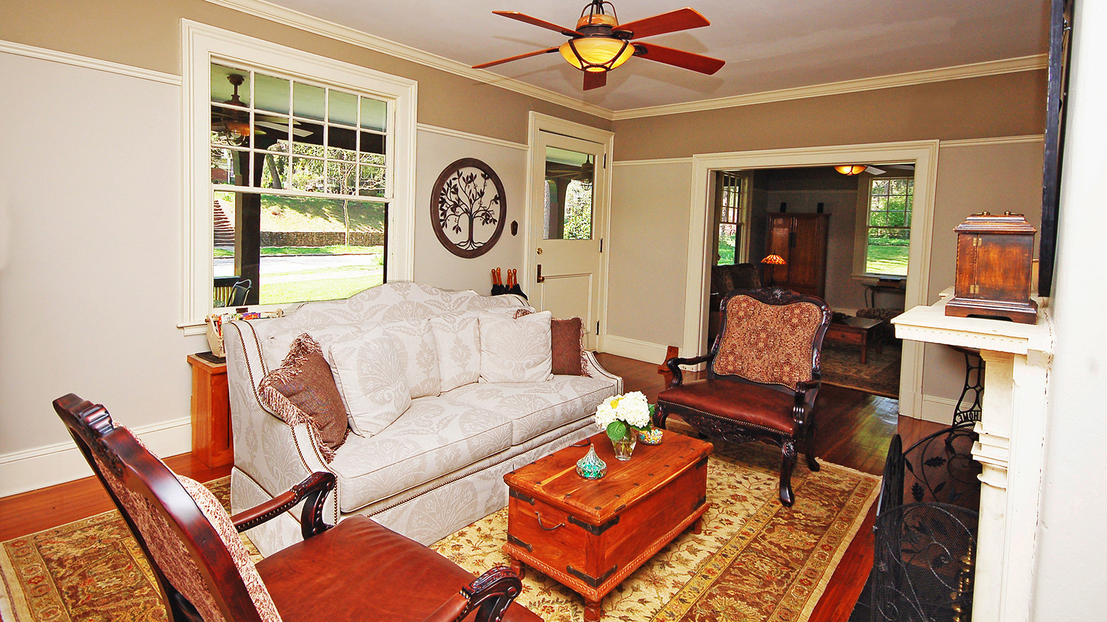 Main Entrance, Parlor Sitting Area with Fireplace